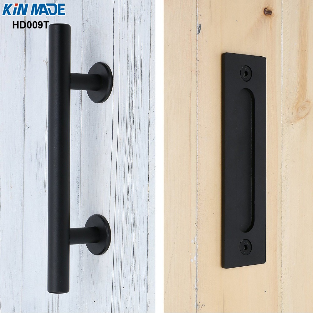цена на KIN MADE Iron Steel Black Powder Coated Barn Door Handle Flush Pull Combo Wood Door Pull