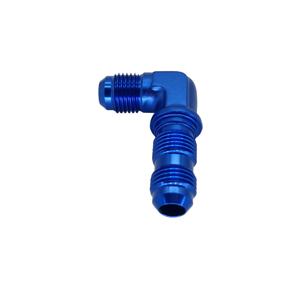 Aluminum 90 Degree 8 AN Male Flare Union Bulkhead Fuel Fitting with AN8 Bulkhead Nut Blue