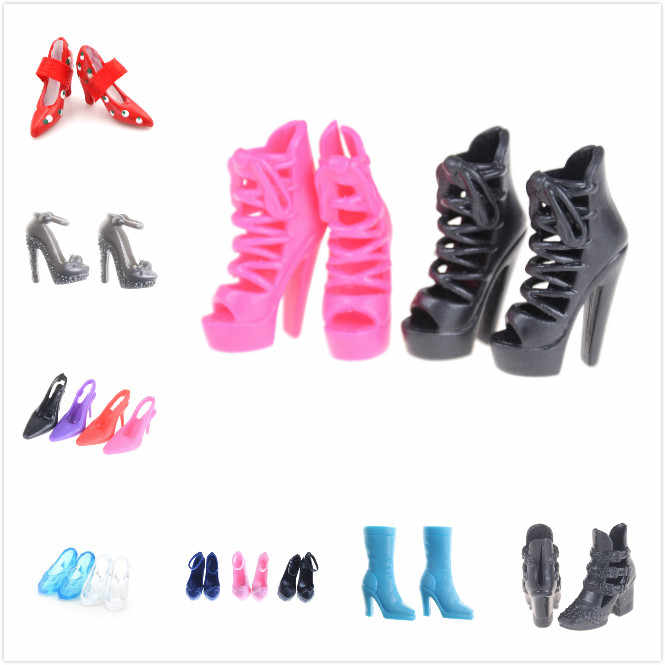 1/2Pairs Multi Styles Fashion Heels Sandals Doll Shoes For  Dolls Outfit Dress Lots Xmas Gift For Girl Toy