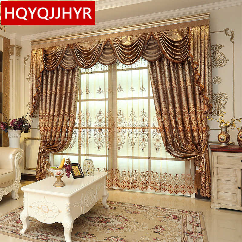 Luxury European brown embroidered High shading curtains for Living Room /Hotel classic high quality curtains for Bedroom/Kitchen