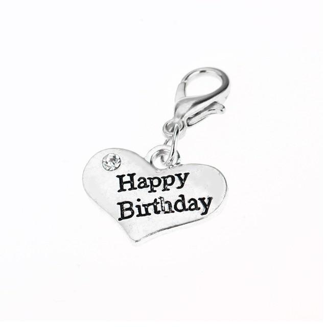 Crystal Heart Rhinestone Charms Happy Birthday Birth Gifts Women Men