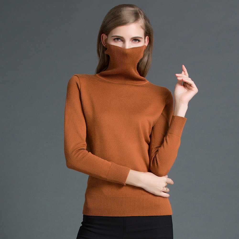OLOEY 2018 Cashmere Knitted Women Sweater Pullovers Turtleneck Autumn Winter Basic Women Sweaters Korean Style Slim Fit Black