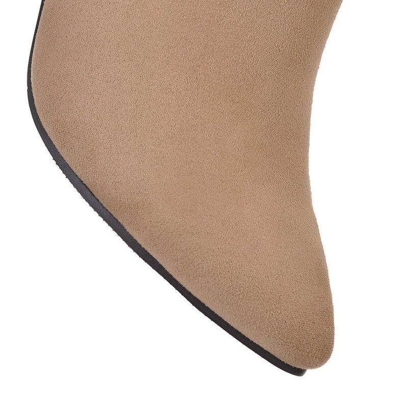 Taille De Haute Mariage Dames Automne Chaud gris Femmes Grande Chaussures Bottes Gris 42 Talons Robe Noir 43 Brun Beige noir Cheville Nemaone j3ARLq54