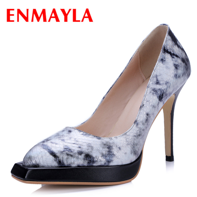 ФОТО ENMAYLA Summer Spring High Heels Platform Pumps Women Ladies Shoes Woman Sheepskin Pumps Red Black Party Pumps Wedding Shoes
