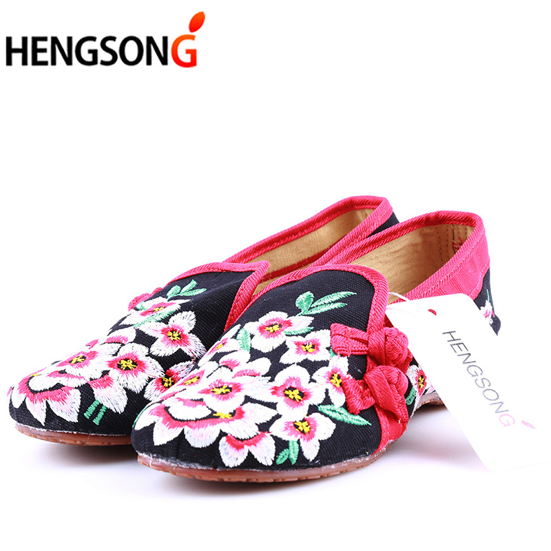 Ladies Old Peking Flower Shoes Women Casual Flats Shoes Peach Blossom Embroidered Cloth Clogs Shoes Super Soft Flats Girls 7