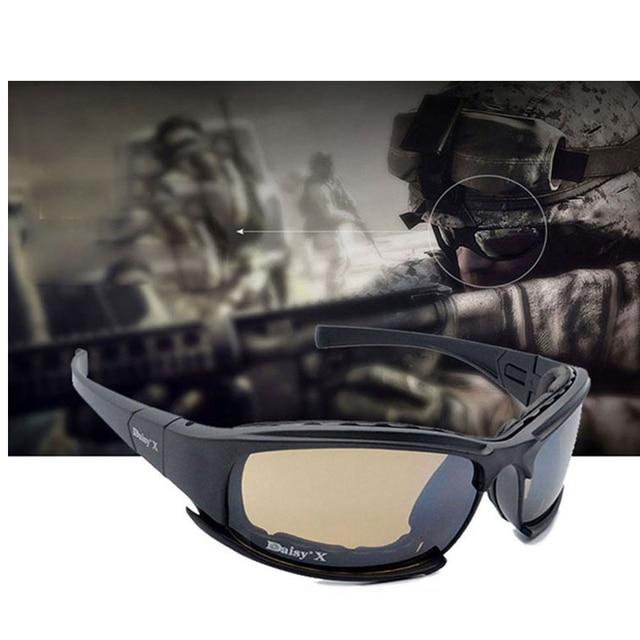 צבאי משקפי Bullet הוכחה צבא X7 מקוטב משקפי שמש 4 עדשת ציד ירי Airsoft רכיבה על אופניים מלא אצבע אופנוע Glasse