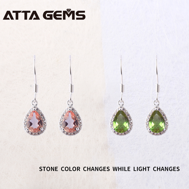 Diaspore Sterling Silver Drop Earrings For Women Zultanite Color Changes Stone Special Design Fine Jewelry Birthday Gifts