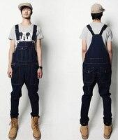 Denim Overalls Men Bib Jeans 2015 New Fashion Overall Jeans Free Shipping