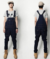 Denim Overalls Men Bib Jeans 2015 New Fashion Overall Jeans Free Shipping