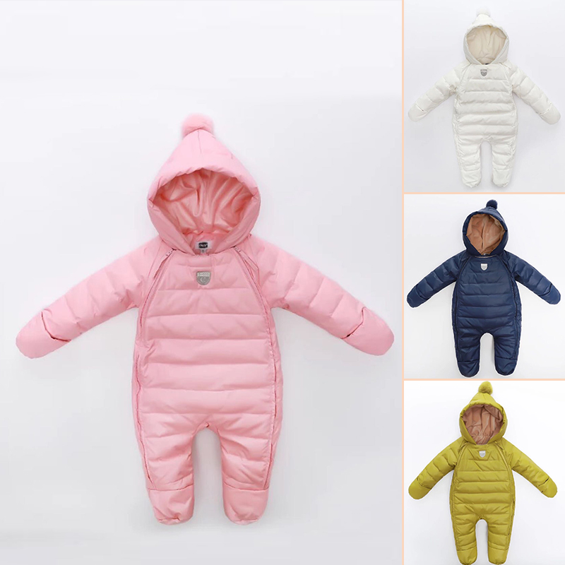 children 39 s winter jumpsuit baby snowsuit newborn fleece rompers infant hooded overalls for girls. Black Bedroom Furniture Sets. Home Design Ideas