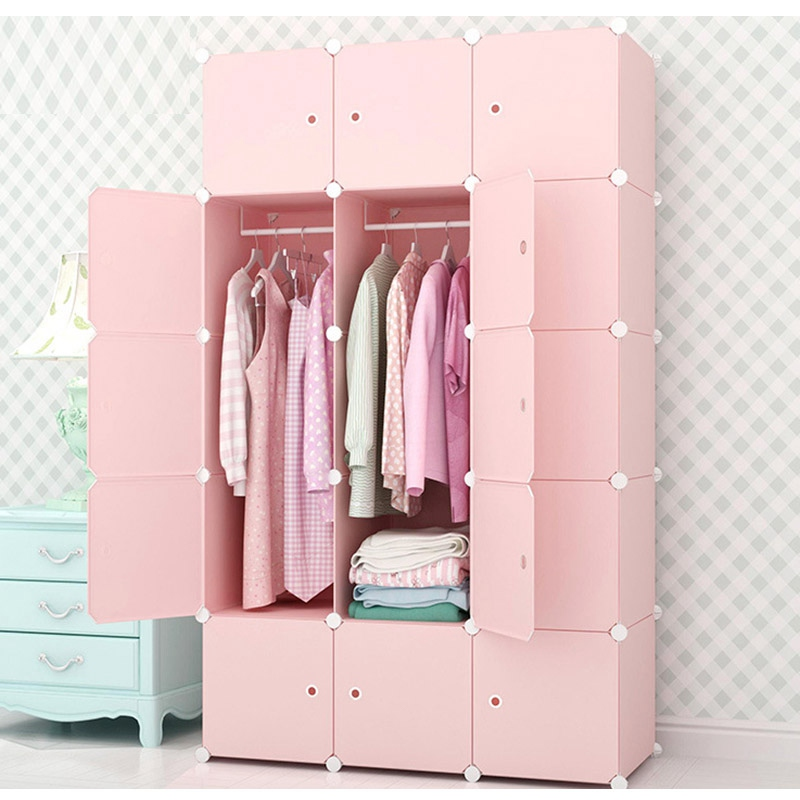 diy closet home clothes storage hanging wardrobe waterproof closet assembled wardrobes bedroom. Black Bedroom Furniture Sets. Home Design Ideas