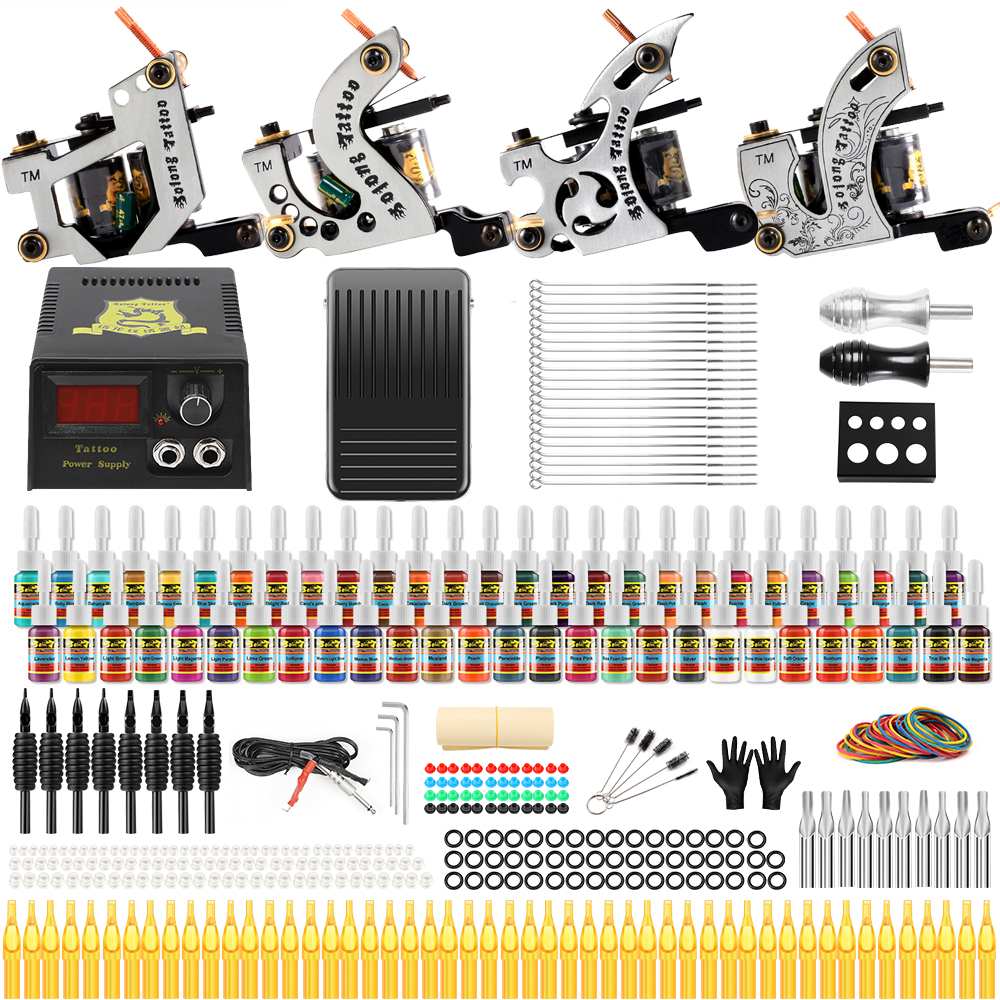 Solong Tattoo Complete Tattoo Kits 10 wrap Coils Guns Machine 54Color Tattoo Ink Sets Power Supply Disposable Needle TK459 complete tattoo kits pro gun machine power pedal 10 color ink sets power supply disposable needle grip tip quality new arrival