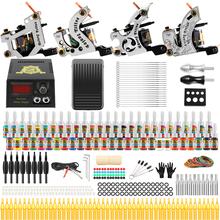 цена на Solong Tattoo Complete Tattoo Kits 10 wrap Coils Guns Machine 54Color Tattoo Ink Sets Power Supply Disposable Needle TK459