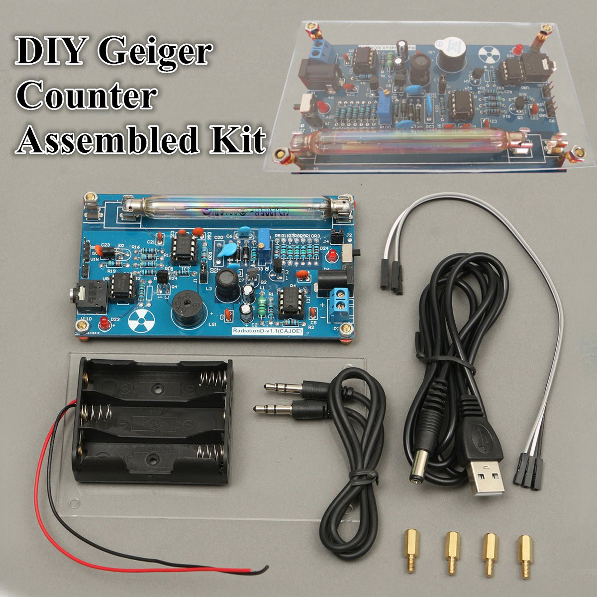 Assembled Diy Geiger Counter Kit Nuclear Radiation Detector Gamma Sine Systems Inc Audio Detection Circuit 1x System G M Tube Power Supply Cable Battery Holder Without Batteries 3x Jumper Wires 4x Nuts Acrylic Cover