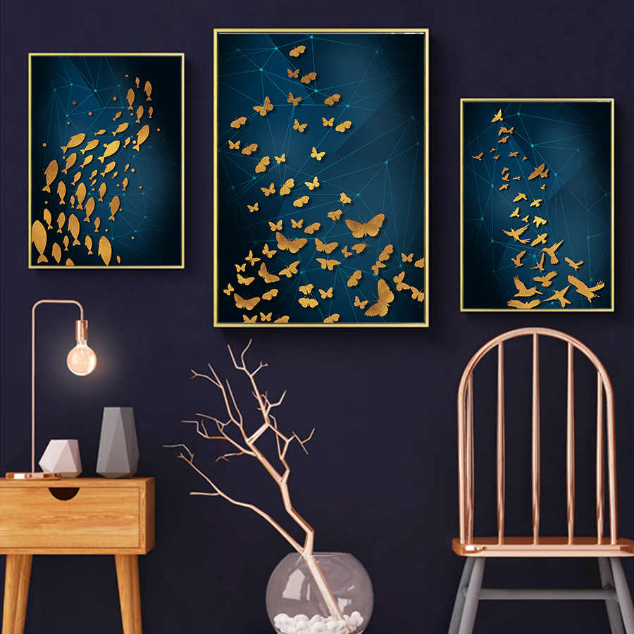 Nordic Geometry Abstract Canvas Wall Pop Art Picture Blue Gold Poster and Prints Light Luxury Oil Painting for Living Room Decor