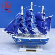 LUCKK 16CM Mediterranean Style Wooden Model Ships Home Interior Decoration Nautical Wood Crafts Sea Marien Room Miniature