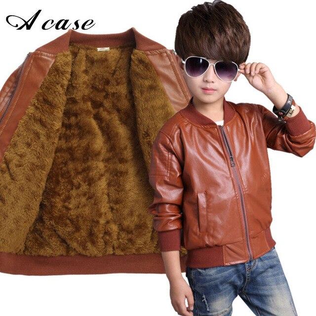 219a101123a1 Boys PU Leather Jacket Coat Clothes 2018 Fashion Toddler Kids Autumn ...