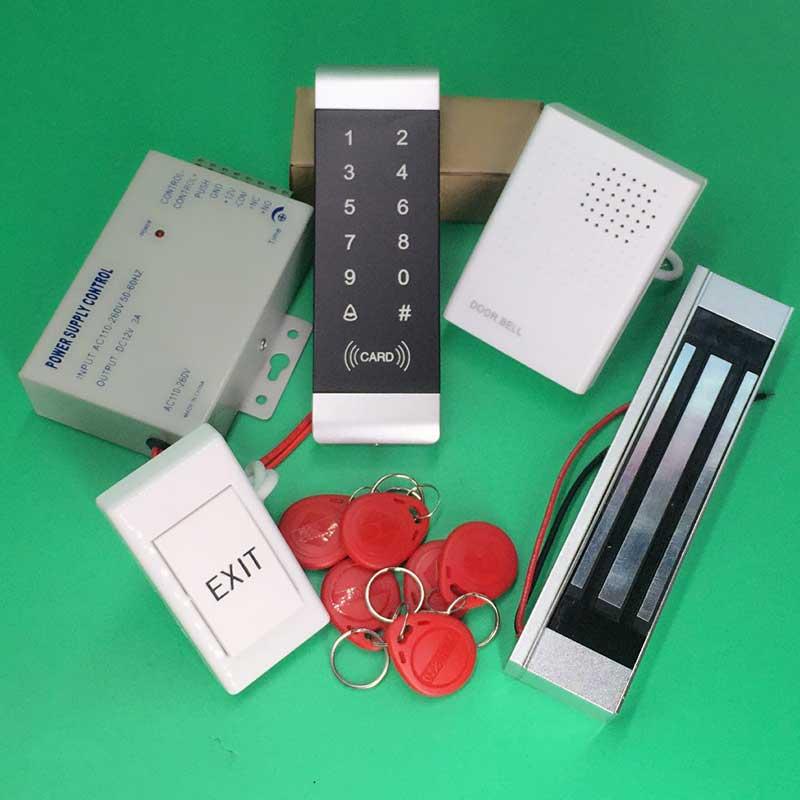 Ensemble de serrure de porte électrique 180 kg 350Lbs + bouton de sortie + clavier de carte + contrôleur d'accès au clavier tactile du fournisseur d'alimentation