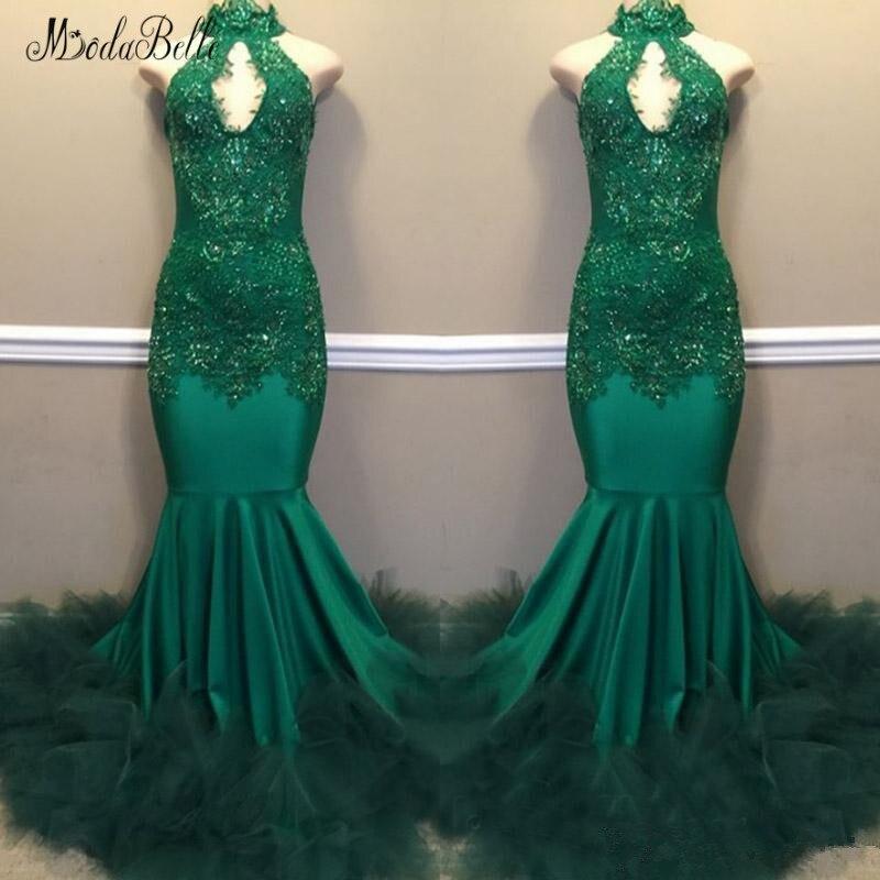 modabelle High Neck Green   Prom     Dress   Robe De Bal Fille Off The Shoulder Appliques Lace Mermaid   Prom     Dresses   Bestidos De Gala