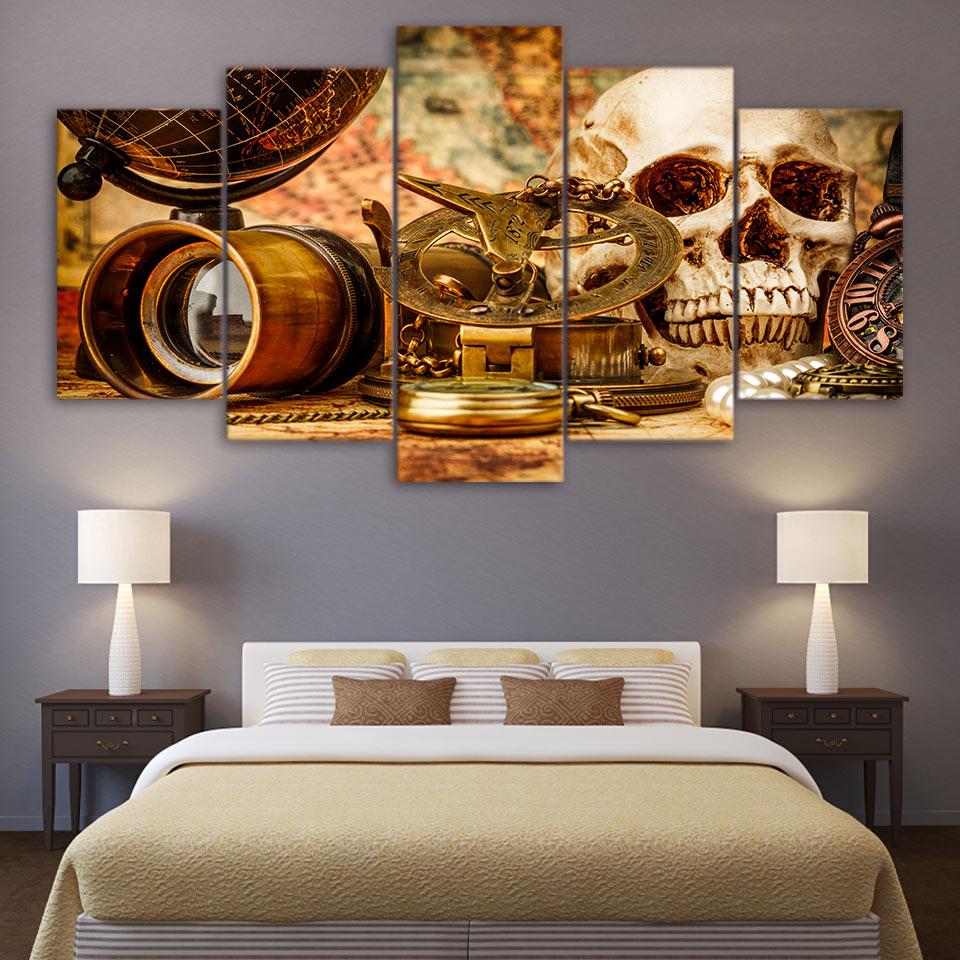 Холсте Home Decor HD печати плакат стены Книги по искусству 5 шт. морские приключения инструмент и череп фотографии модульный Винтаж компас Карти...
