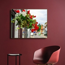 Basket Flowers Town on Canvas Painting Calligraphy Poster Prints Living Room House Wall Pictures Art Home Decoration Picture