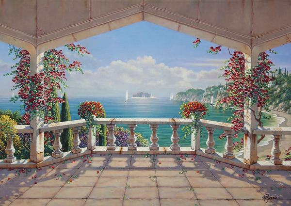 free shipping Mediterranean sea seascape flower kiosk oil painting canvas prints printed on canvas wall art decoration picture