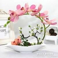 Alta simulación artificial flores de las orquídeas arreglos decorativos látex fake silicona macetas flores artificiais arranjos orquideas