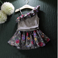 2016 summer clothes girl baby agaric hypotenuse condole belt unlined upper garment + short skirt suits the girl's clothes