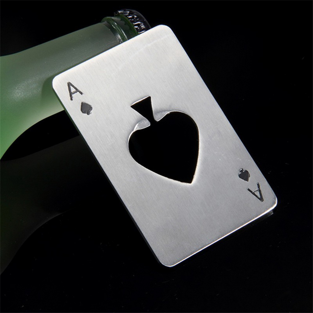 Stylish  1pc Poker Playing Card Ace Of Spades Bar Tool Soda Beer Bottle Cap Opener Gift