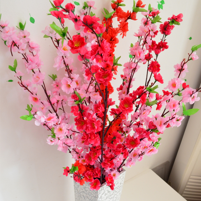 Wholesale 12pcslot artificial branches of peach cherry blossom silk wholesale 12pcslot artificial branches of peach cherry blossom silk flowers home wedding decoration flower in artificial dried flowers from home garden mightylinksfo