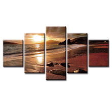 5 pieces framed Wall Art Picture Gift Home Decoration Canvas Print painting Seascape series poster wholesale