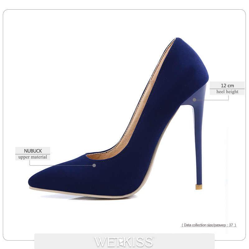 WETKISS Zarif En Yeni Sığ Ince Yüksek Topuklu Pompalar Elbise Parti Ofis bayan Pompaları Sivri Burun Bahar 2019 Kadın ayakkabı