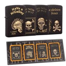 4 шт. в коробке Зажигалка Набор Скелет Керосин Зажигалка бензиновая ветрозащитный многоразового сигареты Металл Ретро Мужчины бар пистолет зажигалки