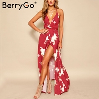 BerryGo Backless Lace Up Boho Long Dress Women Split V Neck Red Print Summer Dress Female
