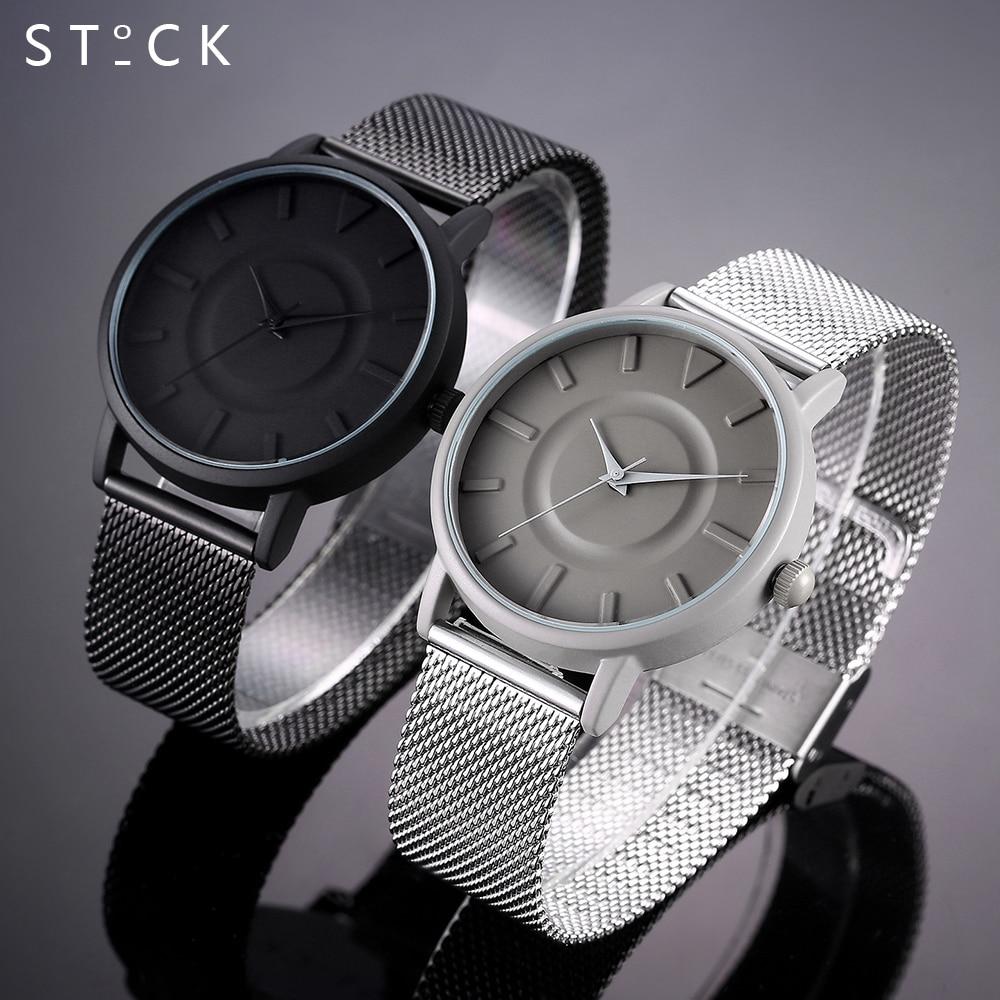 STOCK New Arrival Fashion Black Quartz Watch Women High Quality Wrist Watches Men Gift Hour Relogio Masculino Male Female Clock