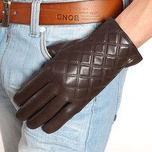 EM013NQF01 fashion finger touchscreen gloves wrist lambskin men winter Genuine leather warm touch style