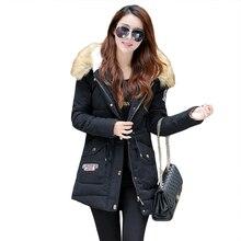 2016 новых прибыть Женщин Парки с капюшоном с мехом полный рукавом чистый цвет теплая зима Вниз горячей продажи плюс размер XXL длинные пальто 6030