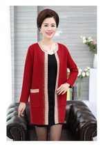 Elderly women's autumn long wedding cardigan sweater middle-aged mother outerwear fashion design