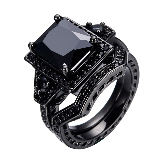 2016 Vintage Style Jewelry MenWomen Black Stone Couple Wedding