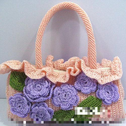 Women Bags China Handmade Crochet Bags Romantic Ciolet Flowers Handbags  Dating Party Fresh Style Handbag
