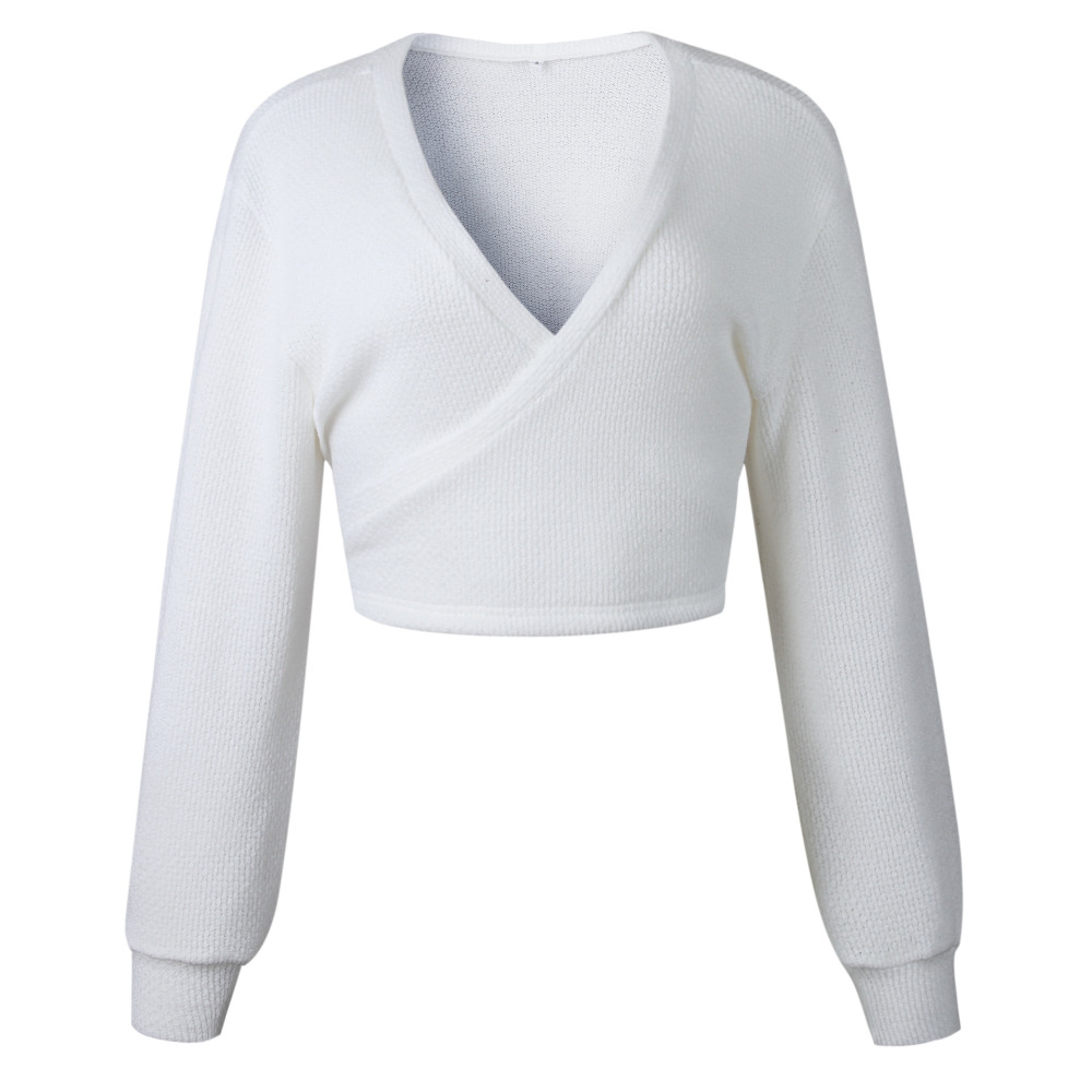 1ff01f4908 LOSSKY White Knitted Crop Sweater Sexy Deep V Neck Fashion Casual Lace Up  Pullover Wrap 2018 Autumn Winter Women Sweaters Jumper