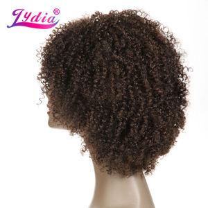 Image 4 - Lydia Afro Kinky Krullend Synthetische Pruiken Natuur kleur Korte Vrouwen Pruiken Kanekalon Hittebestendige Afro amerikaanse Natuur Pruiken