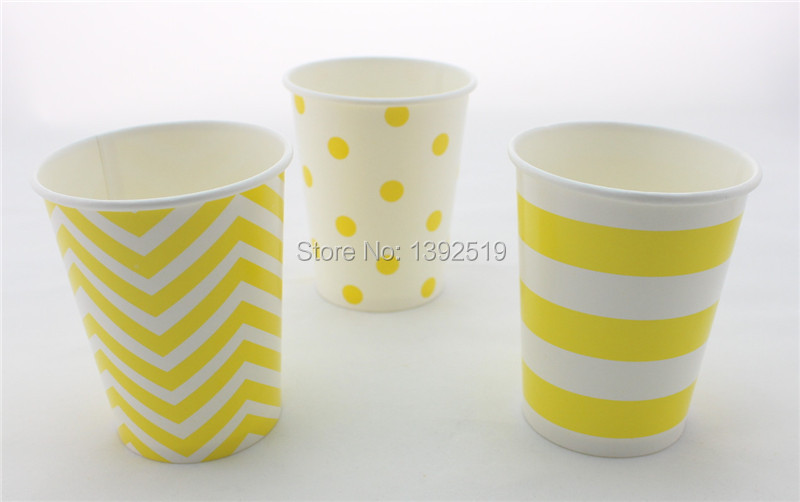 Free Shipping 48pcs Drinking <font><b>Cups</b></font> Wedding <font><b>Party</b></font> Supplies <font><b>Yellow</b></font> Color Paper <font><b>Cup</b></font> Christmas/birthday/baby shower Decoration