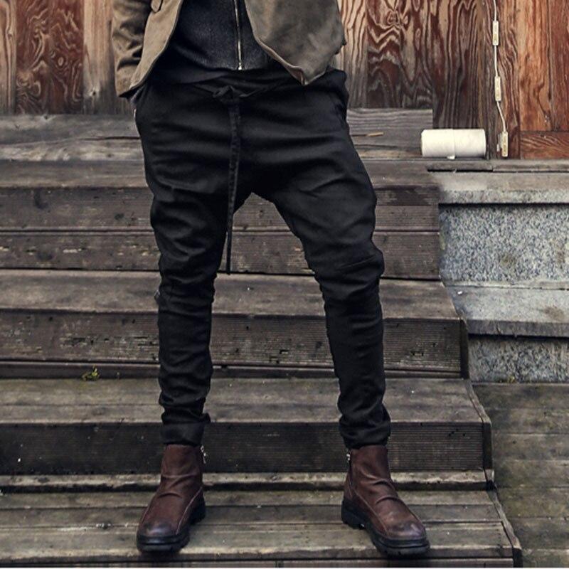 Fashion Autumn Hiphop Harem Pants Men Slim Fit Cross-Pants Drop Crotch Elastic Waist Slack Trousers Joggers Sweatpants Black