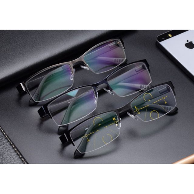 Stgrt 2019New Style Fashionable Men Progressive Reading Prescription Glasses With Gradient Lens Anti Blue Ray Uvb 400 Protection