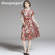 Casual elegant Embroidery Floral Dress Summer 2019 Short Sleeve Corset Sequin Women Stand Flower Red S-XXL Plus Size