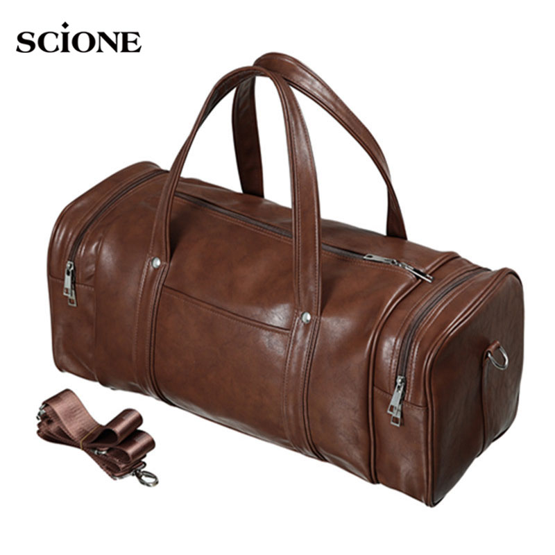 e60f6f230e Men s PU Leather Gym Bags Travel Sports Bag Fitness Men Women Handbags  Shoulder Yoga Sac De Sport Tas 2018 For Sporttas XA527WA
