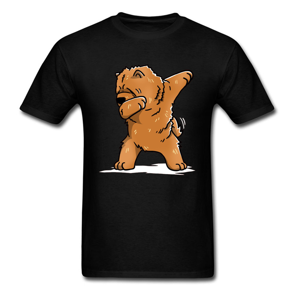 Funny-Dabbing-Chow-Chow-Dog- Short Sleeve Tops & Tees Round Collar 100% Cotton Men T Shirts Casual Tee Shirt New Coming Funny-Dabbing-Chow-Chow-Dog- black