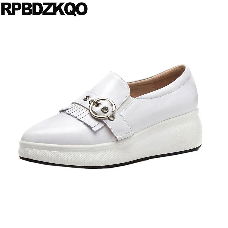 Pointed Toe White Pointy Wedge Platform Creepers Fringe Tassel Metal Designer Shoes China Genuine Leather Women British Style