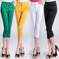 2019 Work Pants for Women Plus Size Black White Green Yellow Casual Calf Length Pants Women Korean Office Lady Summer Trousers